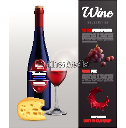 wine realistic poster with grapes unique