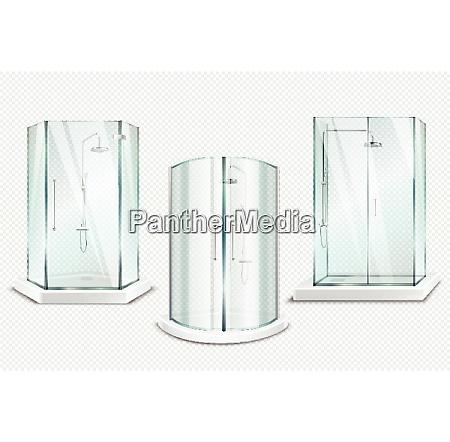 shower cabin transparent realistic 3d collection