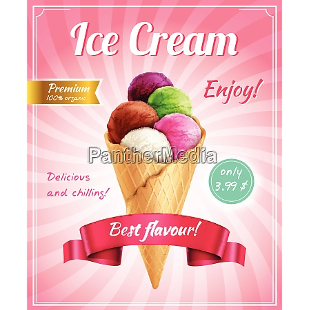 ice cream poster advertising composition with