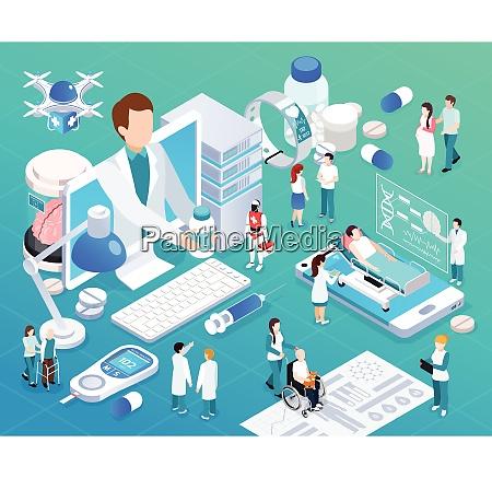 mobile geraete telemedizin gesundheitsdienst gluehen isometrische