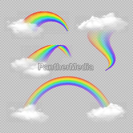 rainbow realistic transparent set in different