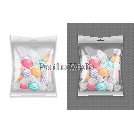 realistic transparent lollypop candy package set