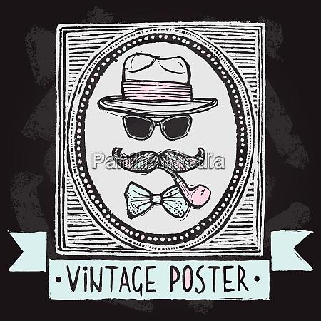 vintage gentleman disguise set of hat