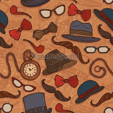 vintage gentleman hats glasses mustaches bow