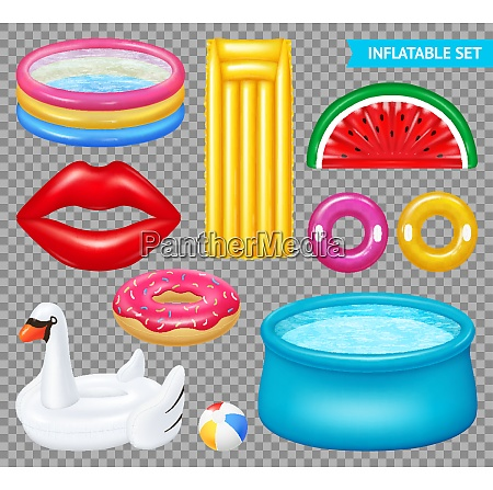 set of realistic inflatable objects pools