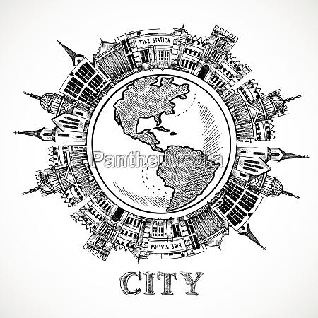 reisekonzept im skizzenstil mit regierungsgebaeuden rund