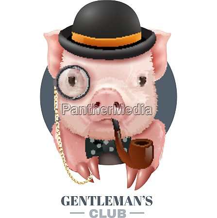 gentlemans club vector illustration with realistic