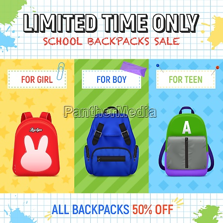 realistic school backpack advertising illustration with