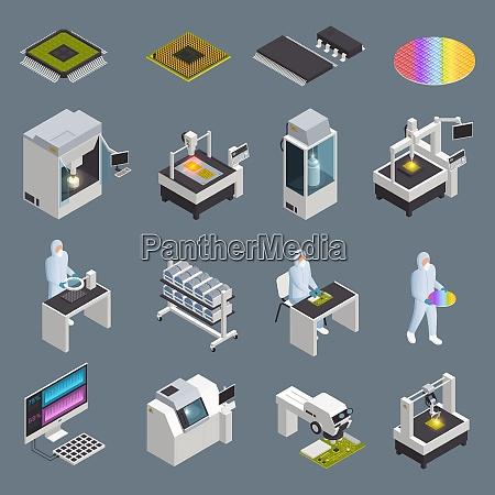 semiconductor chip produktion isometrische symbole sammlung