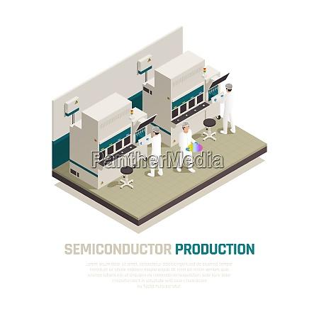 halbleiter chip produktion isometrische zusammensetzung hintergrund