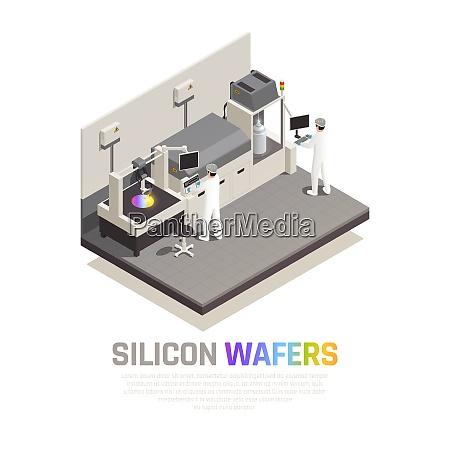 halbleiter chip produktion isometrische hintergrundzusammensetzung mit
