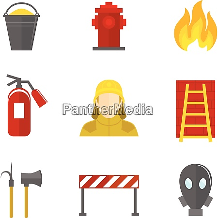 firefighting icons flat set of firefighter