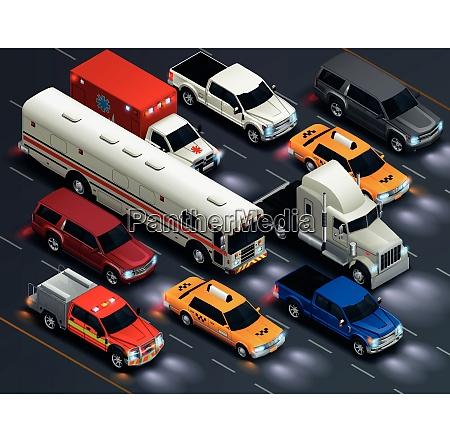 street traffic realistic isometric transportation composition