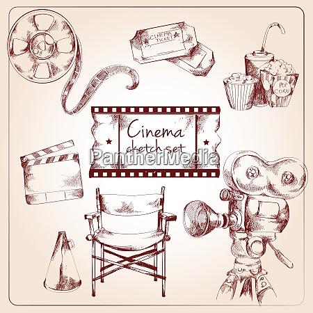 kino unterhaltung medien skizze elemente von