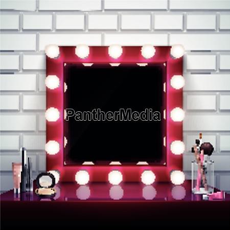 realistische zusammensetzung mit rosa make up