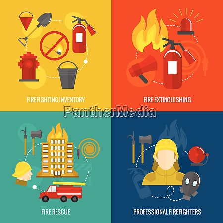 firefighting icons inventory extinguishing fire