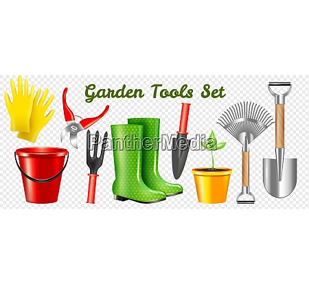 set of realistic garden protective and