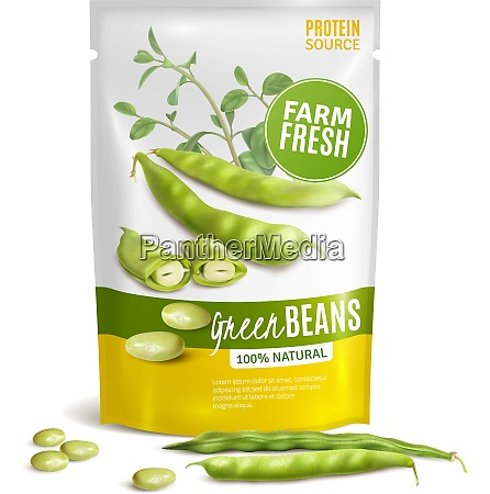 preserved natural green beans plastic package
