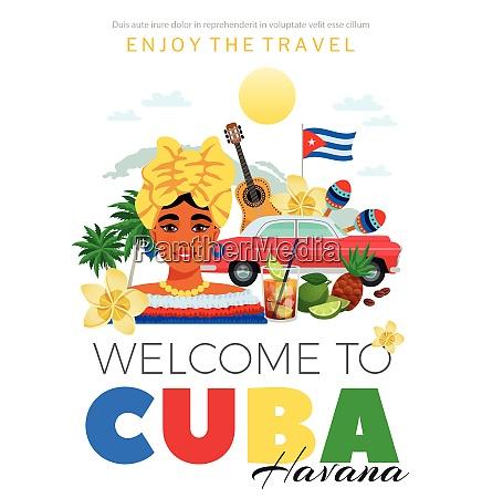 cubaand havana travel poster with people