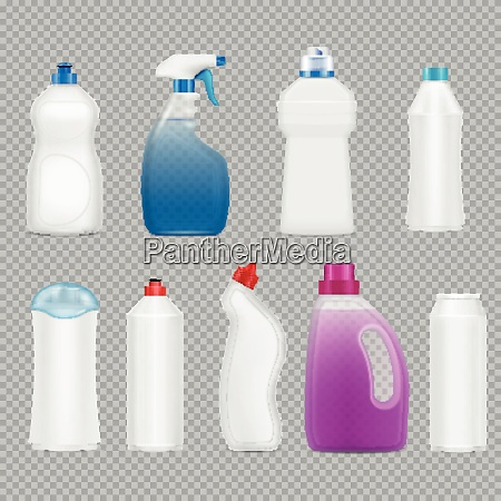 waschmittelflaschen set von realistischen bildern auf