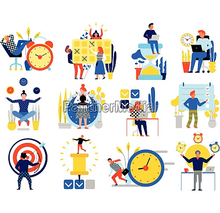 time management icons set with planning