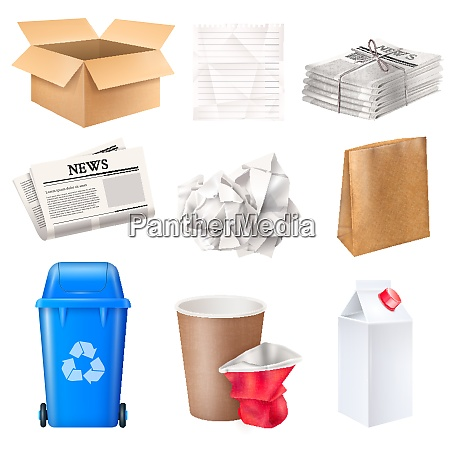 trash and waste set with cardboard