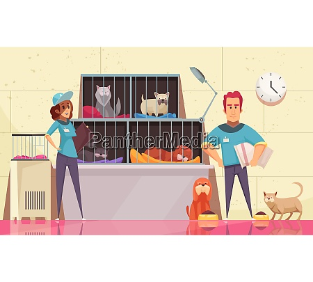 animal shelter horizontal illustration with pets