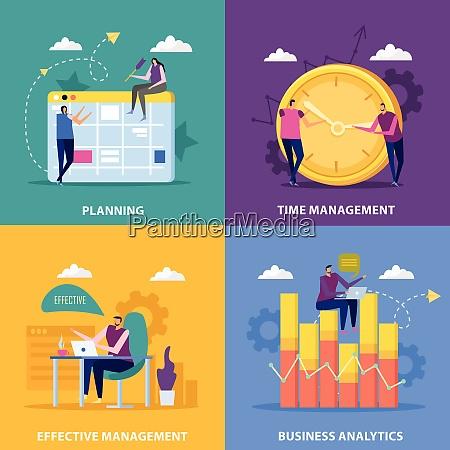 effective management flat 2x2 design concept