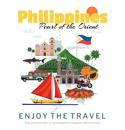 travel to philippines poster with national