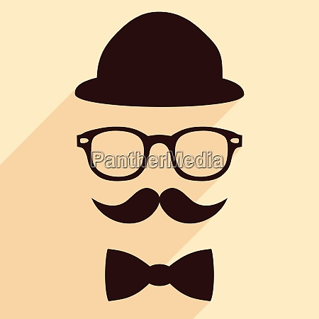 hat glasses mustache bow tie flat
