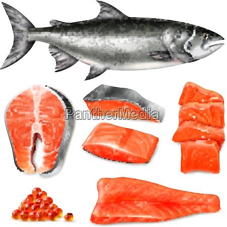 salmon fish raw steaks and caviar