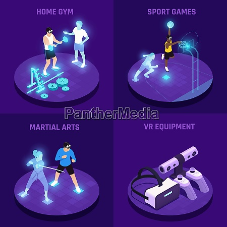 vr sports isometric design concept with