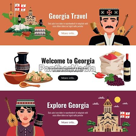 georgia travel flat horizontal banners website
