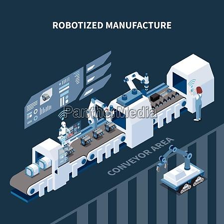 robotisierte fertigung isometrische zusammensetzung mit automatisierten