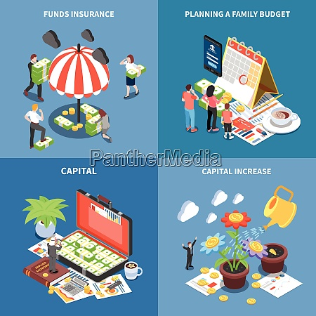 wealth management isometric design concept with