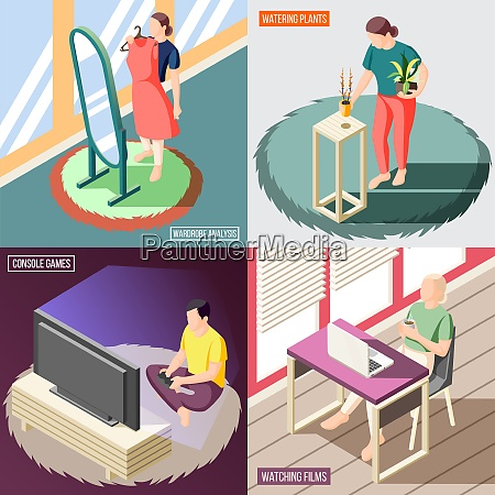 weekend at home isometric concept people