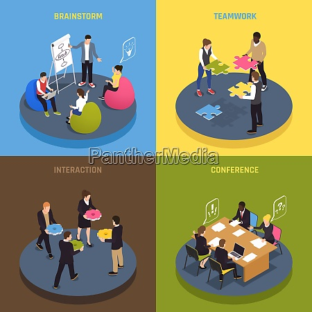 teamwork collaboration concept 4 isometric