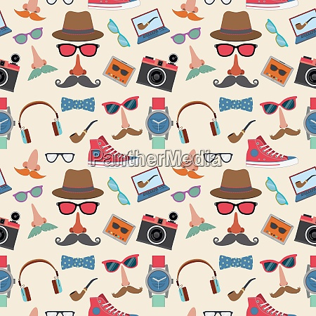 hipster elements seamless pattern with gumshoes