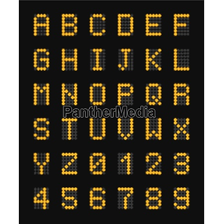 yellow electronic capital letters of alphabet