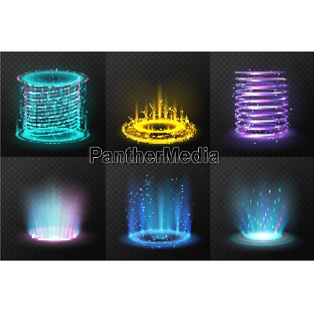 set of realistic colorful magic portals