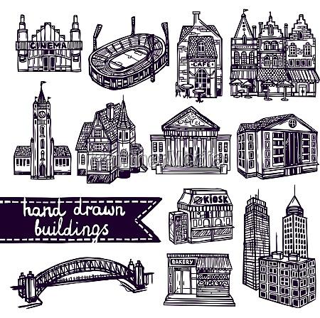 sketch city building decorative icons set