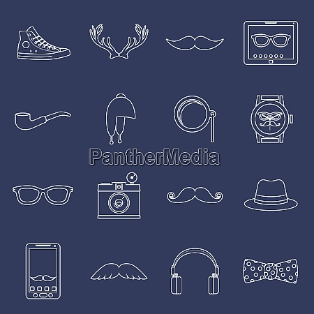 hipster geek urban fashion elements and