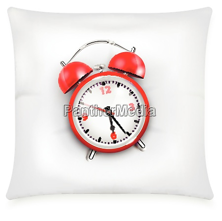 red alarm clock with two bells