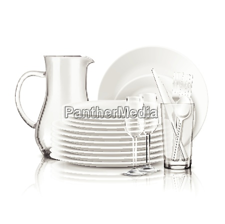 clean tableware realistic design concept with