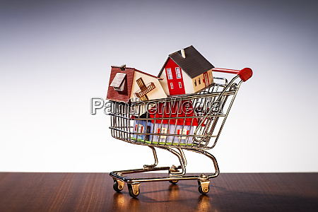 shopping cart with houses