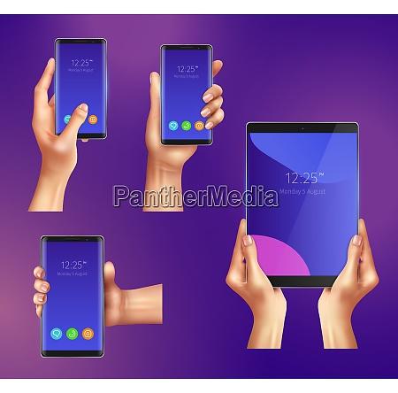 set of realistic gadgets smart phones