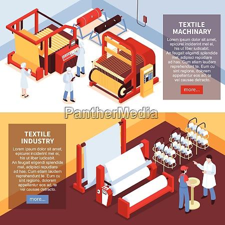set von zwei horizontalen isometrischen textilindustrie