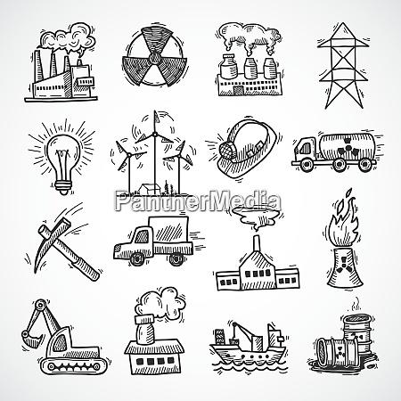 industrielle skizze symbol set mit OElbrennstoff