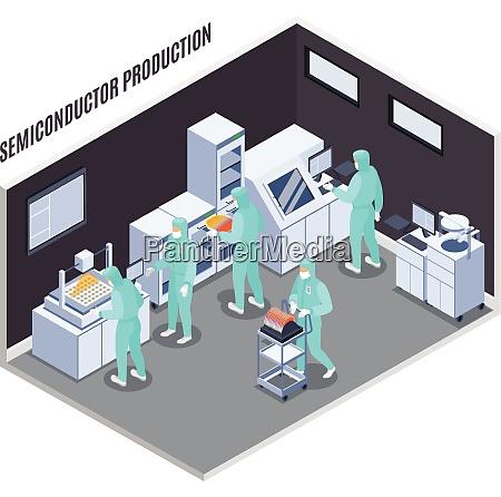 semicondoctor produktionszusammensetzung mit technologie und laborsymbolen