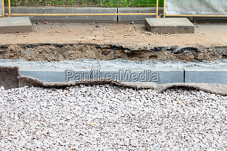 layers of tramroad and new curbs